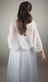 Wide cardigan Bolero SKY to knit yourself with mohair wool from beemohr