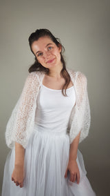 Bridal jacket made of soft mohair knitted for weddings