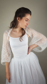 Bridal bolero SKY to knit yourself with mohair wool from beemohr