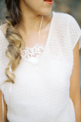 Bridal sweater sleeveless JENNY in the lace pattern white and cream for romantic weddings