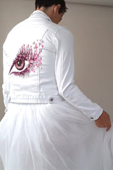 Denim jacket with a printed eye motif for the bride