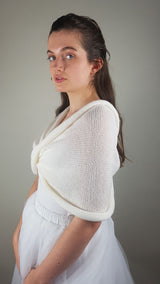 Bridal scarf knitted from soft merino ivory