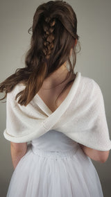 Bridal loop knitted from soft merino white