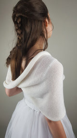 Bridal loop knitted from soft merino ivory and lilac