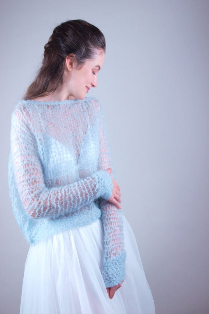 Wedding sweater knitted in look through