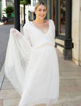 Bridal sweater with deep neckline knitted for the wedding