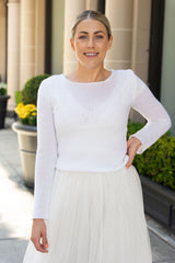 Bridal sweater shot in Beverly Hills with a tulle bridal skirt