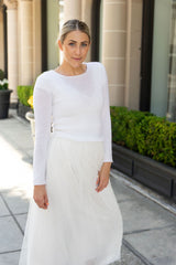 Bridal sweater shot in Beverly Hills with a silk bridal skirt