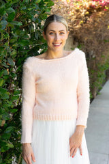 Bridal sweater, cozy and soft knitted in rose blush