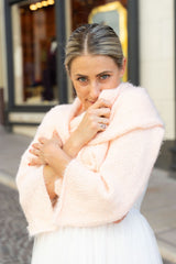 Cozy bridal stole knit with Beaugency