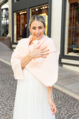 Cozy bridal stole knit with Beaugency ivory