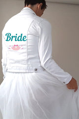Textile print Bride with pink flower
