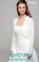 Order online cashmere wool bridal sweater and garter in the elegant box