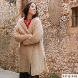 Hooded knitted coat made of Ingenua mohair