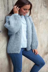 Cuddly cardigan hand-knitted from mohair wool