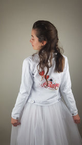 White denim jacket with red print