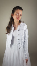 White denim jacket printed with decorative - eye framed with butterflies