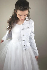 Denim jacket printed for your bridal skirt made of tulle and silk