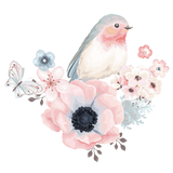 Stickers for clothes, bird with flower tendril pink
