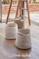 The instructions crochet baskets for storage