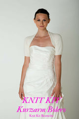 Bridal jacket for the wedding knitted with short sleeves