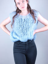 Ingenua mohair vest to knit yourself light blue