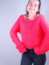Knitted sweater made of ingenouis big wool by Katia pink
