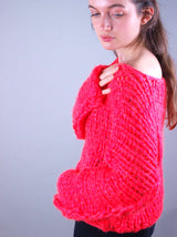 Knitted sweater from ingenouis big wool by Katia