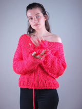 Knitted sweater made of ingenouis big wool by Katia 80s style