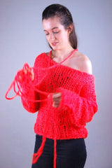 For girls: Luminous knitted sweater in neon pink Neoni