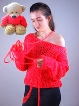 Knitted sweater for mom and daughter in a partner look