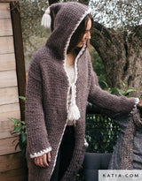 Knit coat made of natural love wool brown