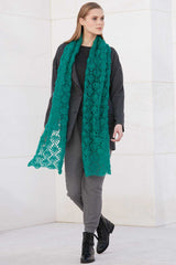 Crochet set for a scarf in lace pattern with mohair wool