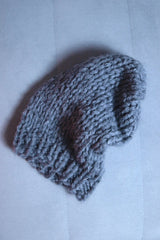 Thick winter hat gray hand-knitted