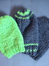 Hand-knitted winter hats as a Christmas present