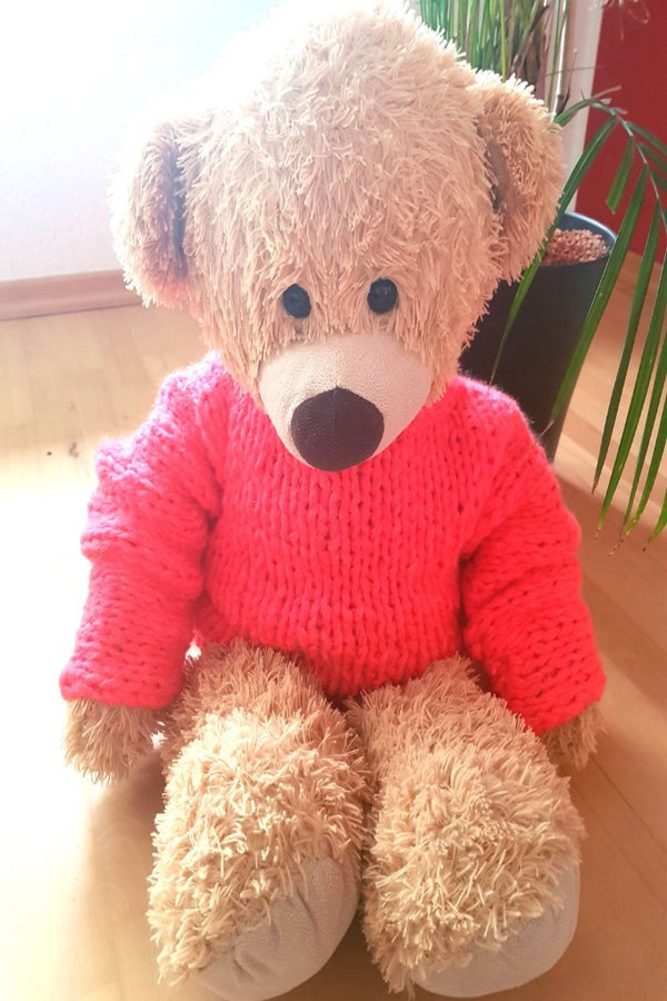 Teddy mit strickpullover in neon pink