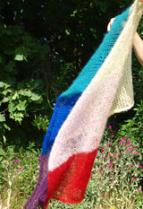 Pride stole knitted in rainbow colors