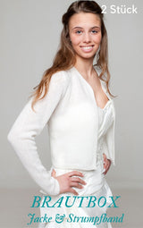 Order online cashmere wool bridal jacket and garter in the box