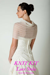 Bridal stole in lace knitted for boho weddings ivory and white