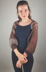 Knit fashion knit bolero in brown for the evening dress