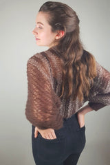 Mohair bolero knitted in brown