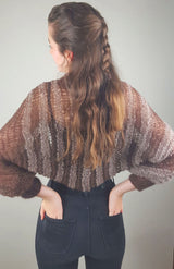 Knit bolero in striped brown for the evening dress
