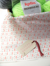 Knitted box with wool by Katia Ingenious Big for a scarf and hat