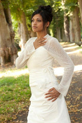 White and ivory wool jacket for the bride