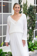 Ivory tulle skirt for the bride with bridal sweater