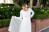 white bridal sweater tight fitting for boho and vintage weddings