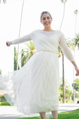 Ivory tulle skirt for the bride with a knitted sweater