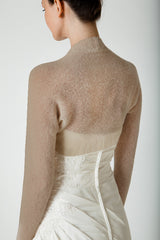 Bridal bolero knitted from baby alpaca: knitting set with wool and knitting instructions mud