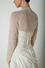 Bridal jacket in the knitting box with matching cashmere wool and knitting instructions