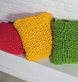 do-it-yourself knit pillow